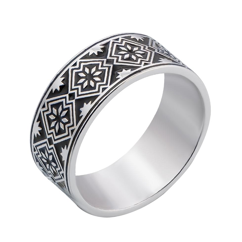 Серебряное кольцо с черной эмалью 000133287 000133287 17.5 размера от Zlato