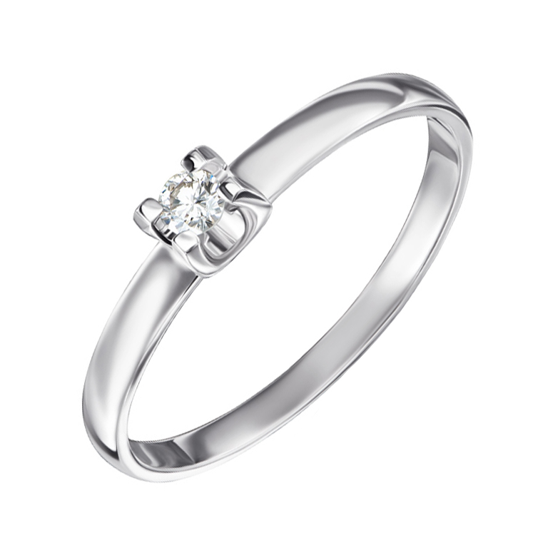 Помолвочное кольцо из белого золота с бриллиантом 000104387