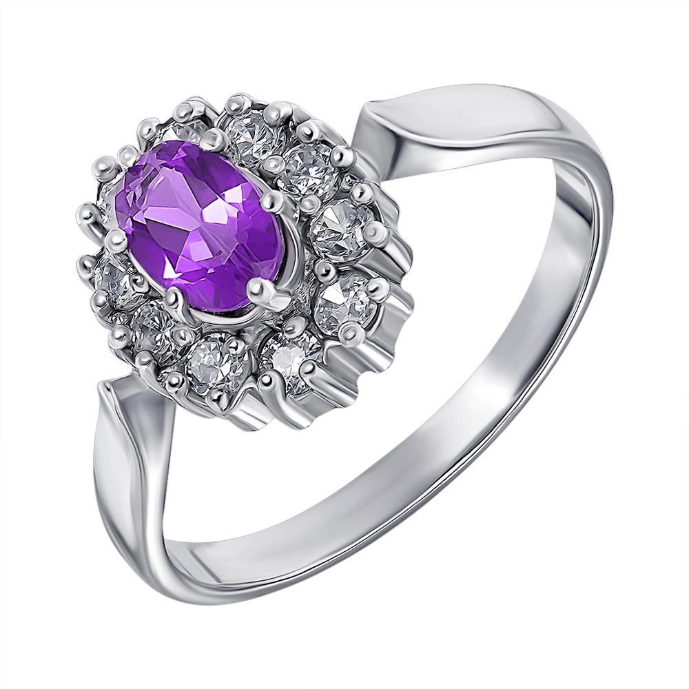 Серебряное кольцо с аметистом и цирконием 000136929 000136929 17 размера от Zlato