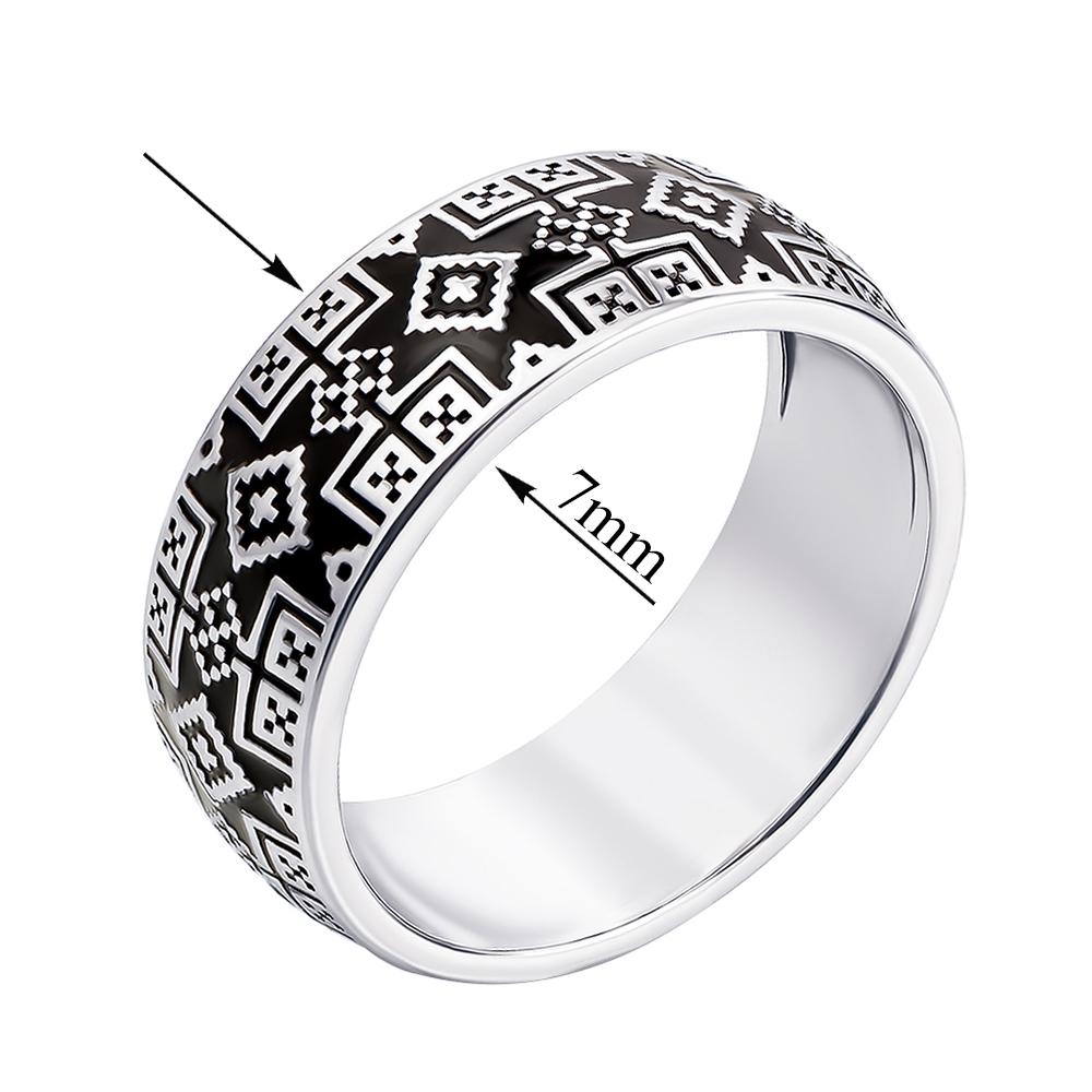 Акция на Серебряное кольцо Краля с орнаментом в стиле вышивки и черной эмалью 000119294 16.5 размера от Zlato - 2