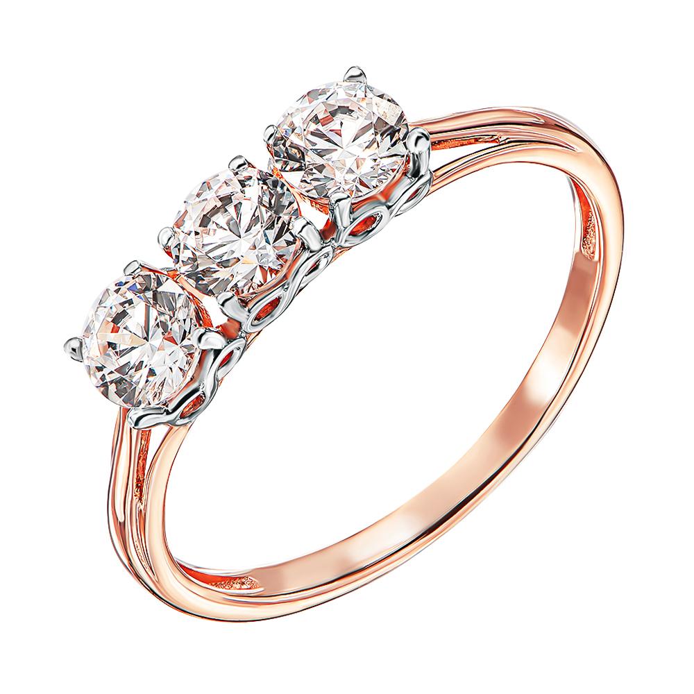 Кольцо из красного золота со Сваровски и родированием 000138381