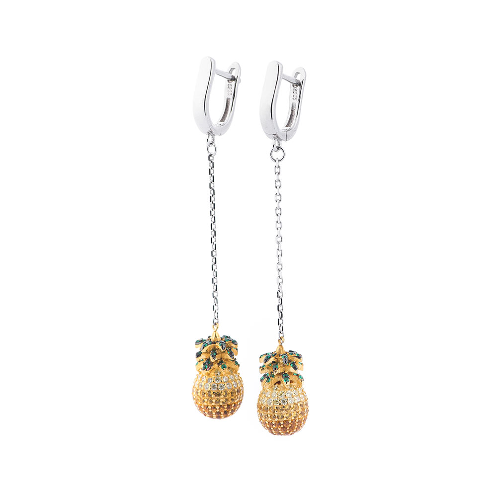 Серебряные серьги-подвески с фианитами микс 000080196