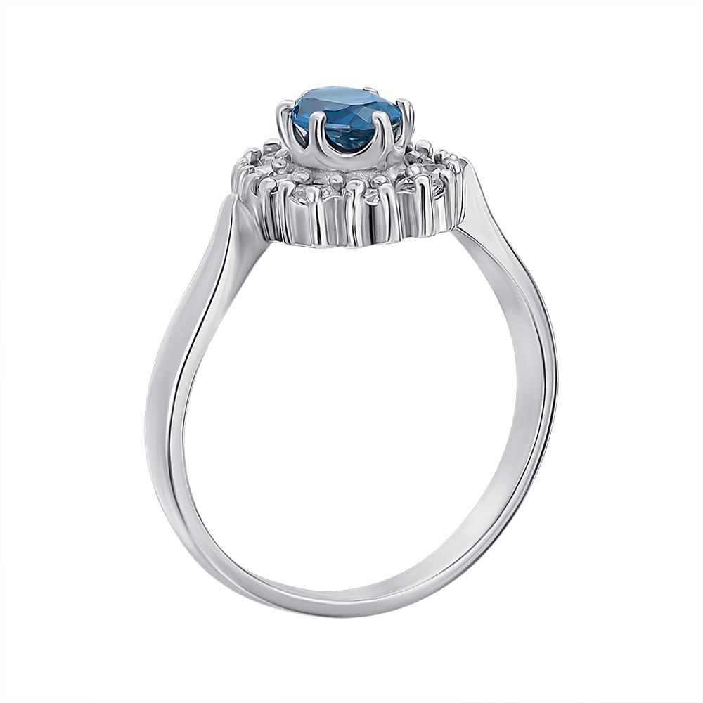Серебряное кольцо с лондон топазом и цирконием 000136930 000136930 17.5 размера от Zlato - 3