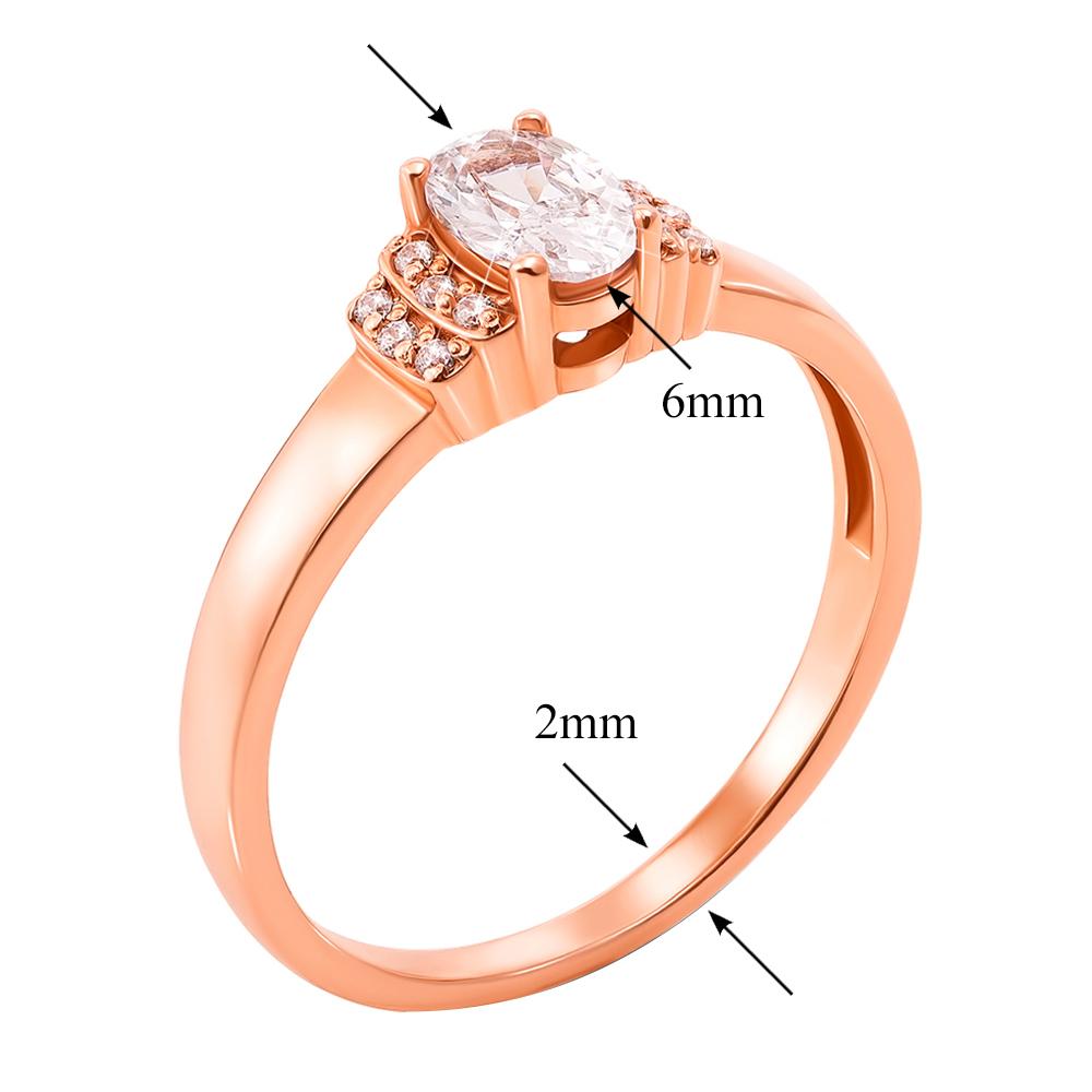 Кольцо из красного золота Бриджит с фианитами 000103794 16 размера от Zlato - 2