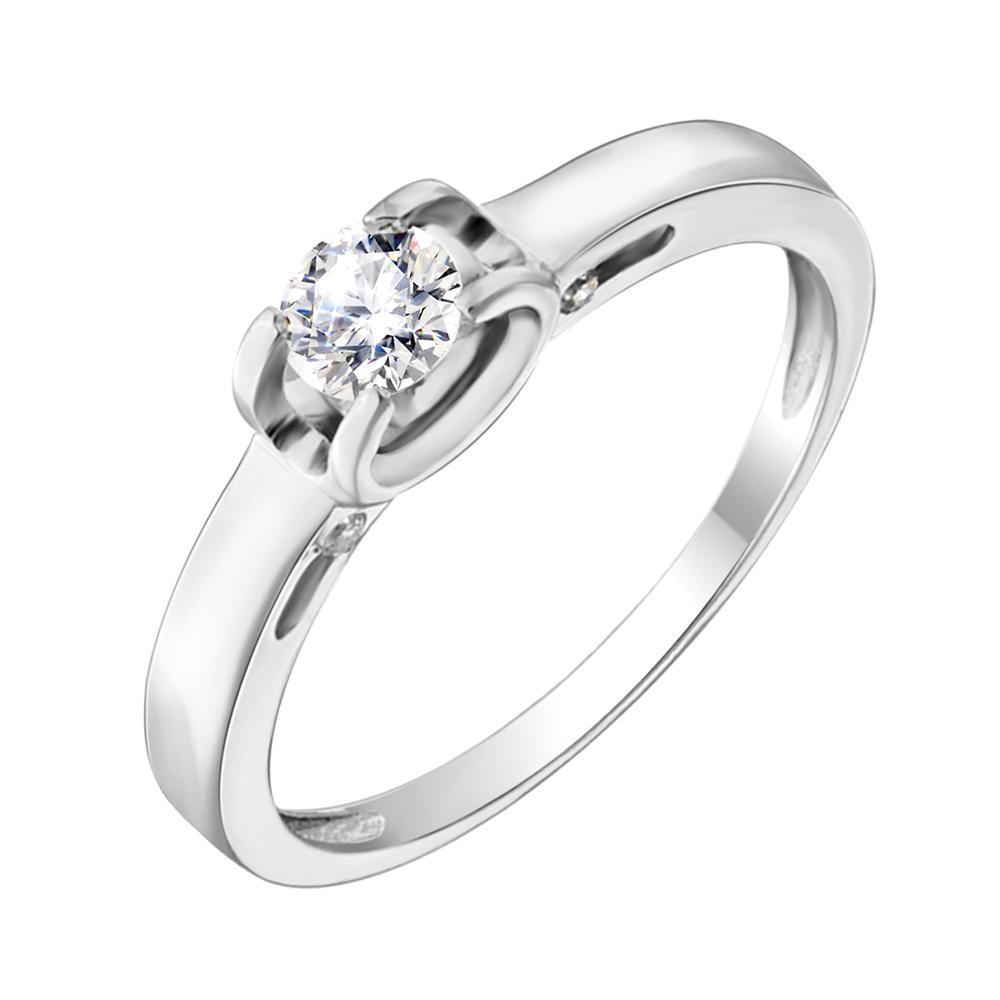 Золотое помолвочное кольцо Яминари в белом цвете с фианитами 000103942 17 размера от Zlato