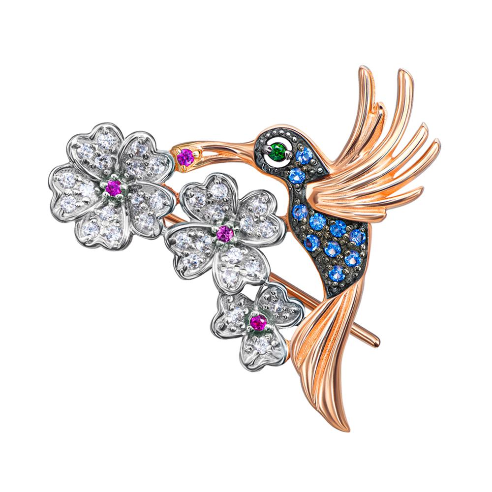 ZLATO / Золотая брошь в комбинированном цвете с разноцветными фианитами 000138466