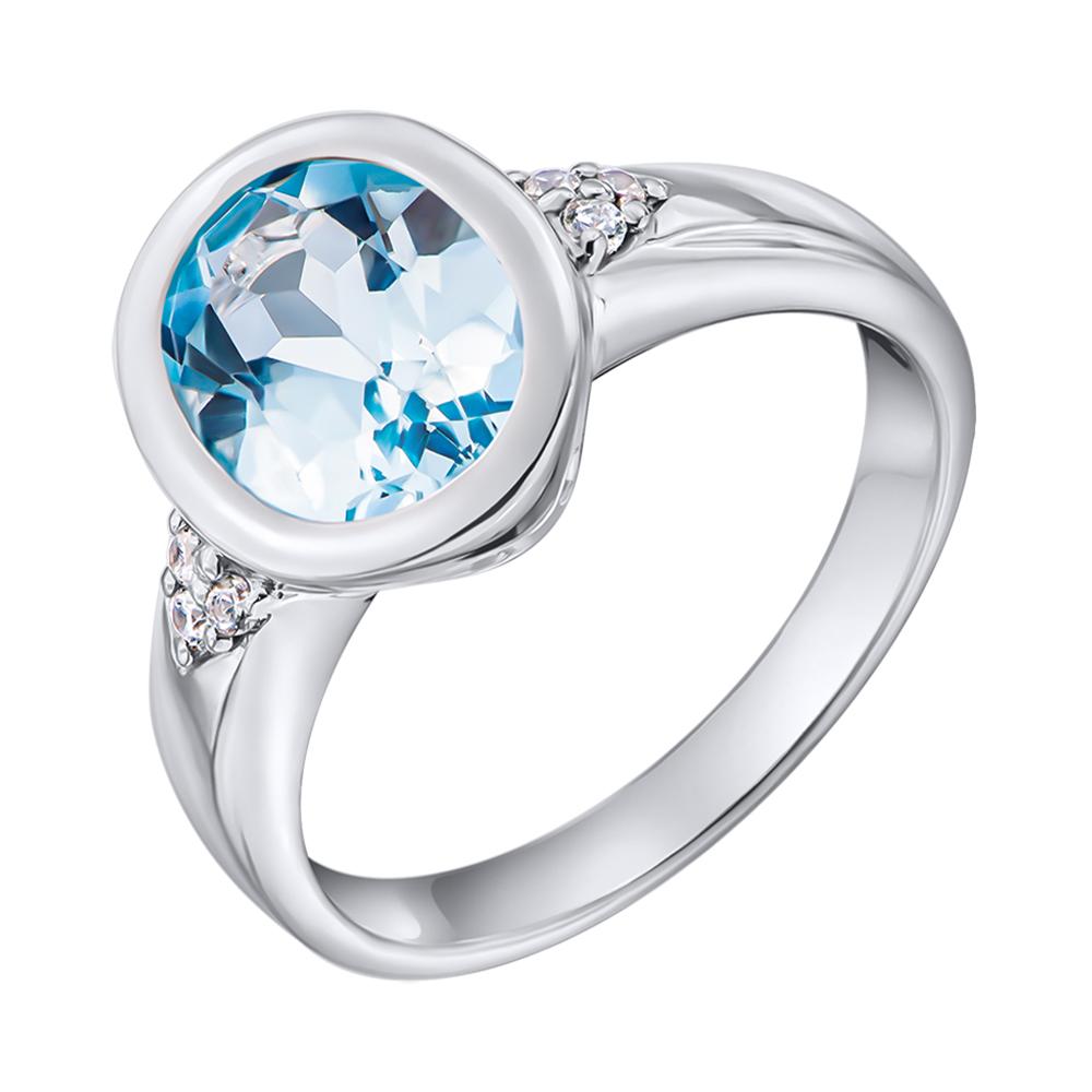 Серебряное кольцо с голубым топазом и фианитами 000137581 000137581 15.5 размера от Zlato