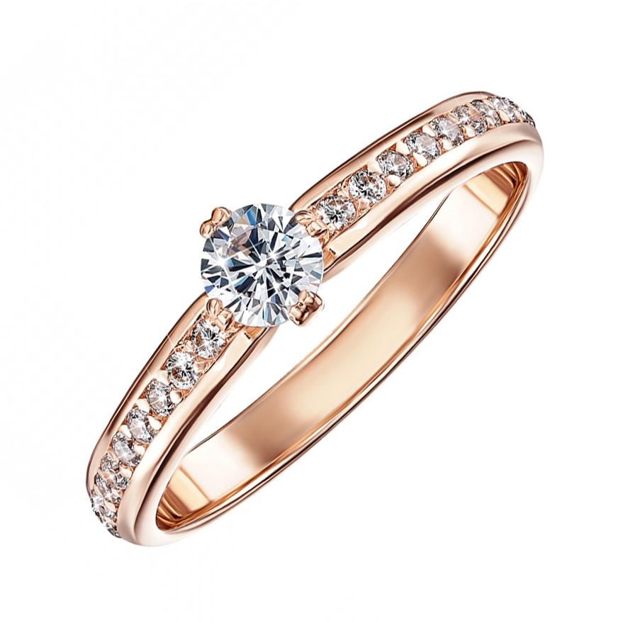 Кольцо из красного золота с фианитами 000103775 000103775 18 размера от Zlato