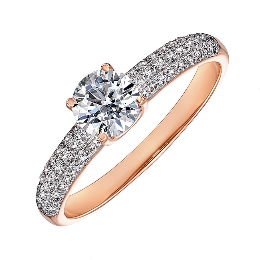 Золотое кольцо в комбинированном цвете с кристаллами Swarovski 000136641 000136641 16 размера от Zlato