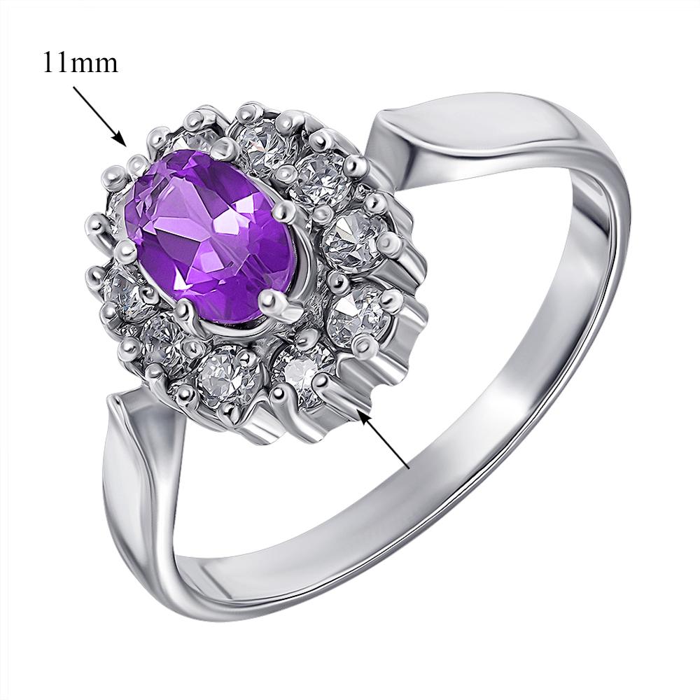 Серебряное кольцо с аметистом и цирконием 000136929 000136929 17 размера от Zlato - 2
