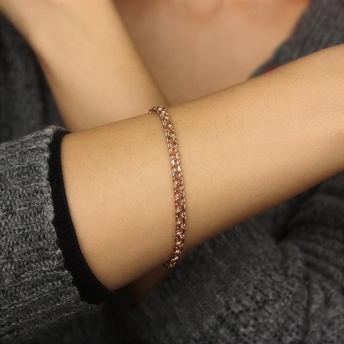 Браслет из красного золота с алмазной гранью 000061638, 4,5мм 000061638 20.5 размера от Zlato - 2