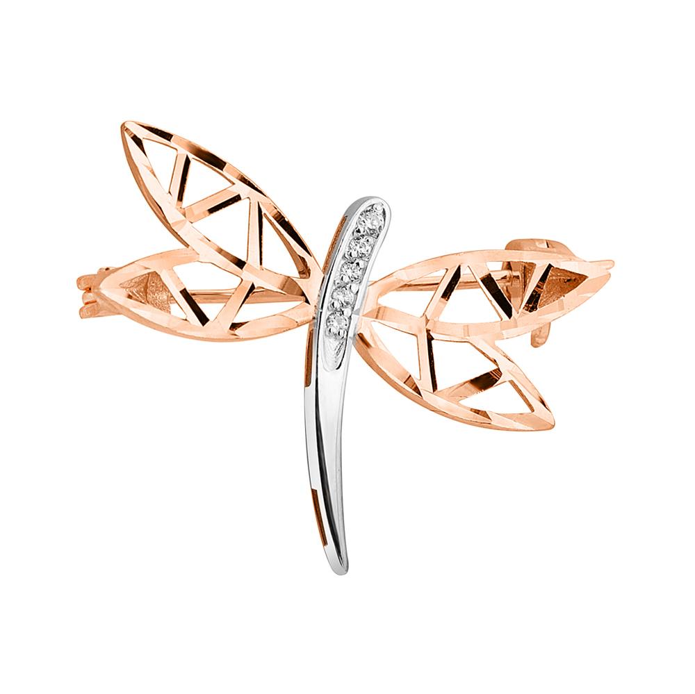 ZLATO / Золотая брошь в комбинированном цвете с фианитами и алмазной гранью 000124485