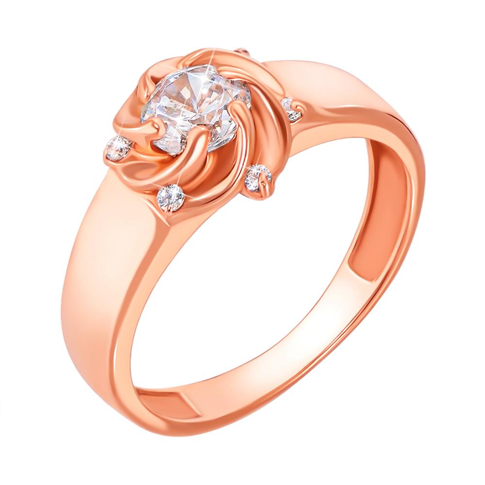 Кольцо из красного золота Вилена с фианитами 000103730 15.5 размера от Zlato