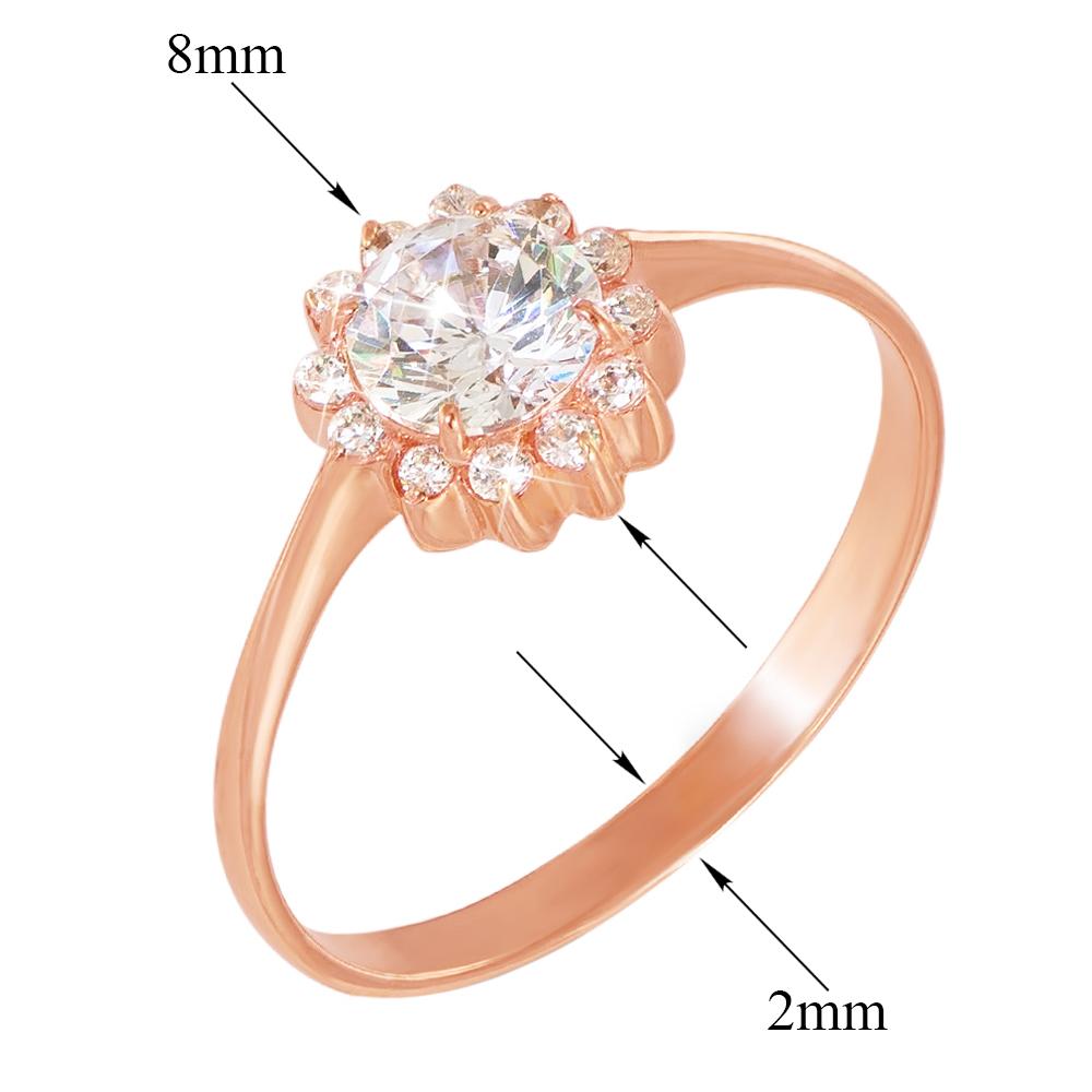 Кольцо из красного золота с фианитами 000103744 000103744 16.5 размера от Zlato - 2