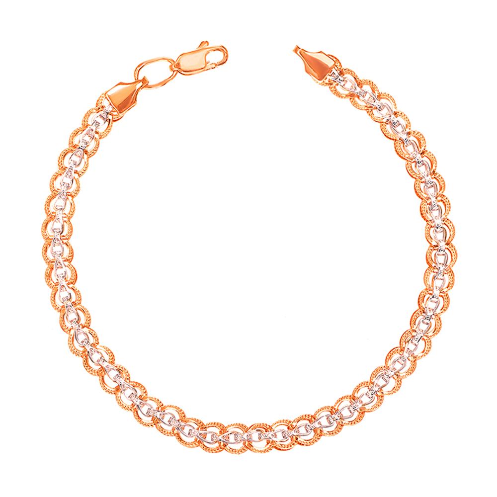 Золотой браслет в комбинированном цвете фантазийного плетения 000104366 000104366 19.5 размера от Zlato