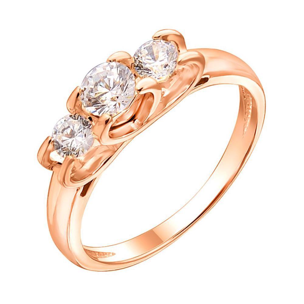 Кольцо из красного золота с фианитами 000113472