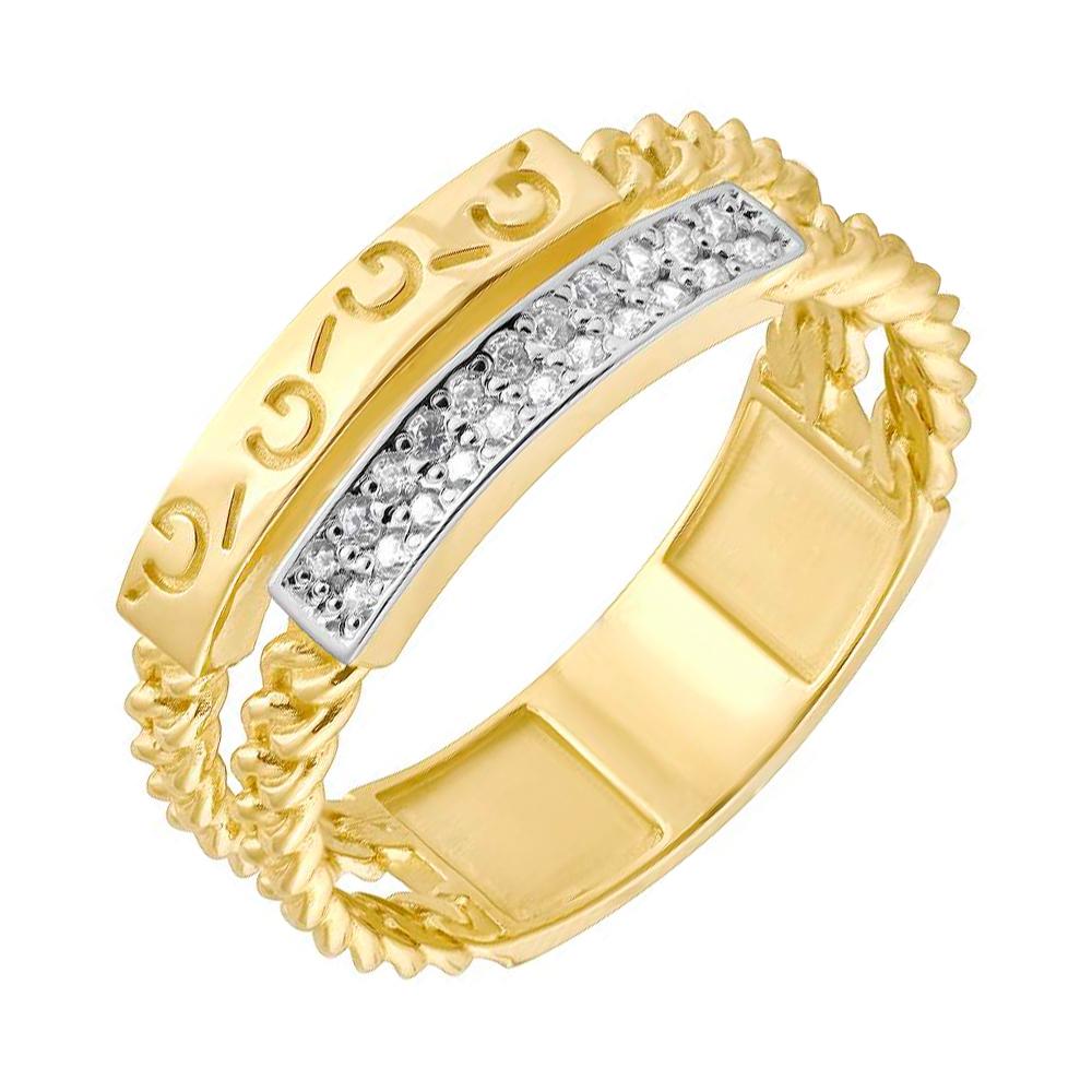 Золотое кольцо с фианитами в желтом цвете 000049322