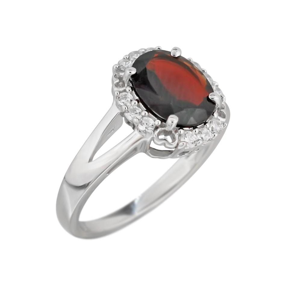 Серебряное кольцо Оливия с гранатом и фианитами