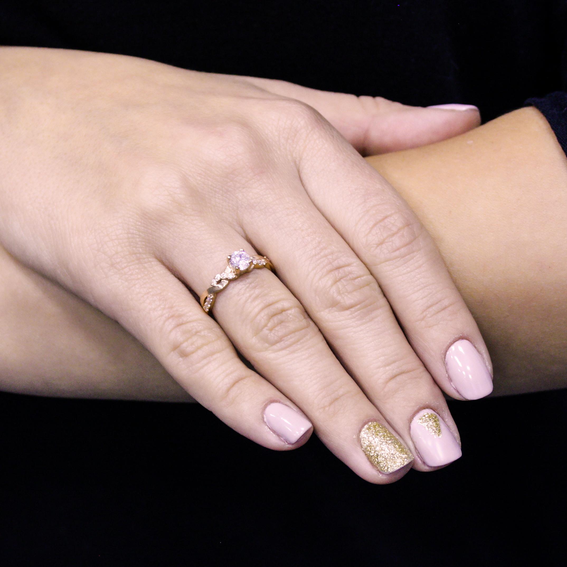 Золотое помолвочное кольцо Августа с косичкой на шинке и фианитами 000095137 16.5 размера от Zlato - 2