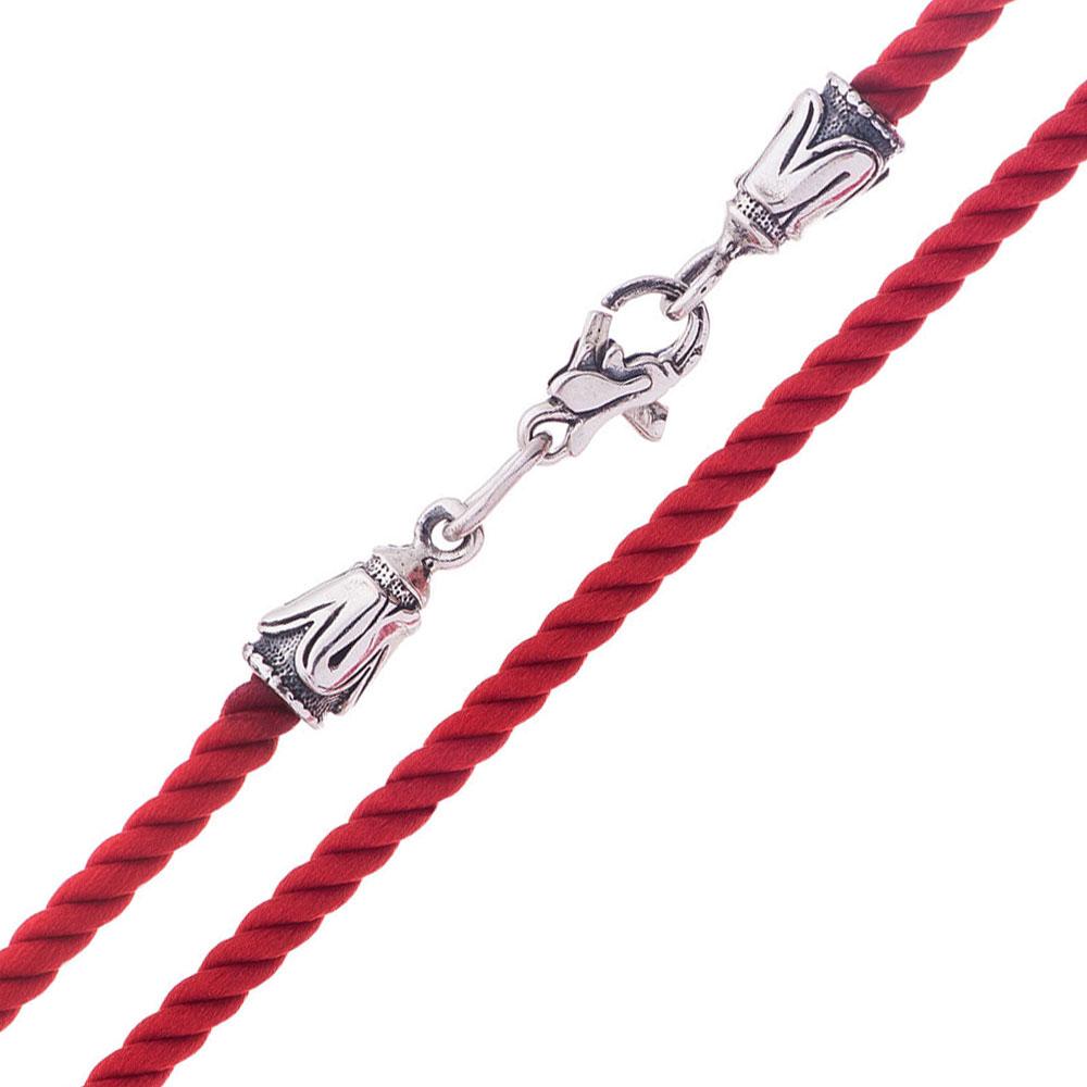 Шелковый красный шнурок с серебряной застежкой 000045889 Zlato
