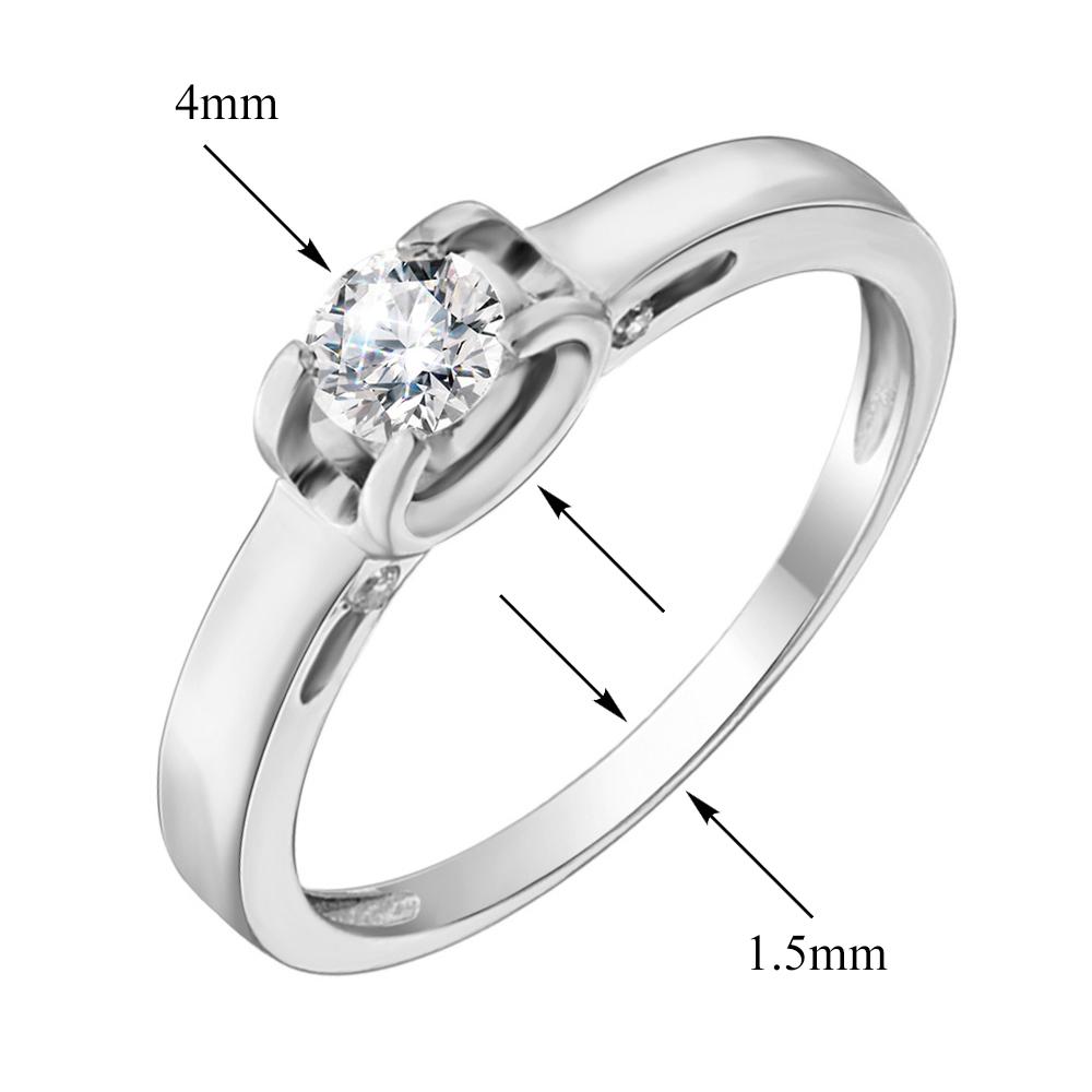 Золотое помолвочное кольцо Яминари в белом цвете с фианитами 000103942 17 размера от Zlato - 2