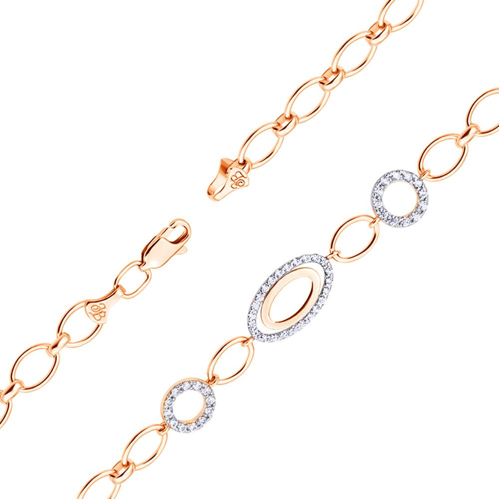 Золотой браслет Мари с кристаллами циркония 000101609 17.5 размера от Zlato