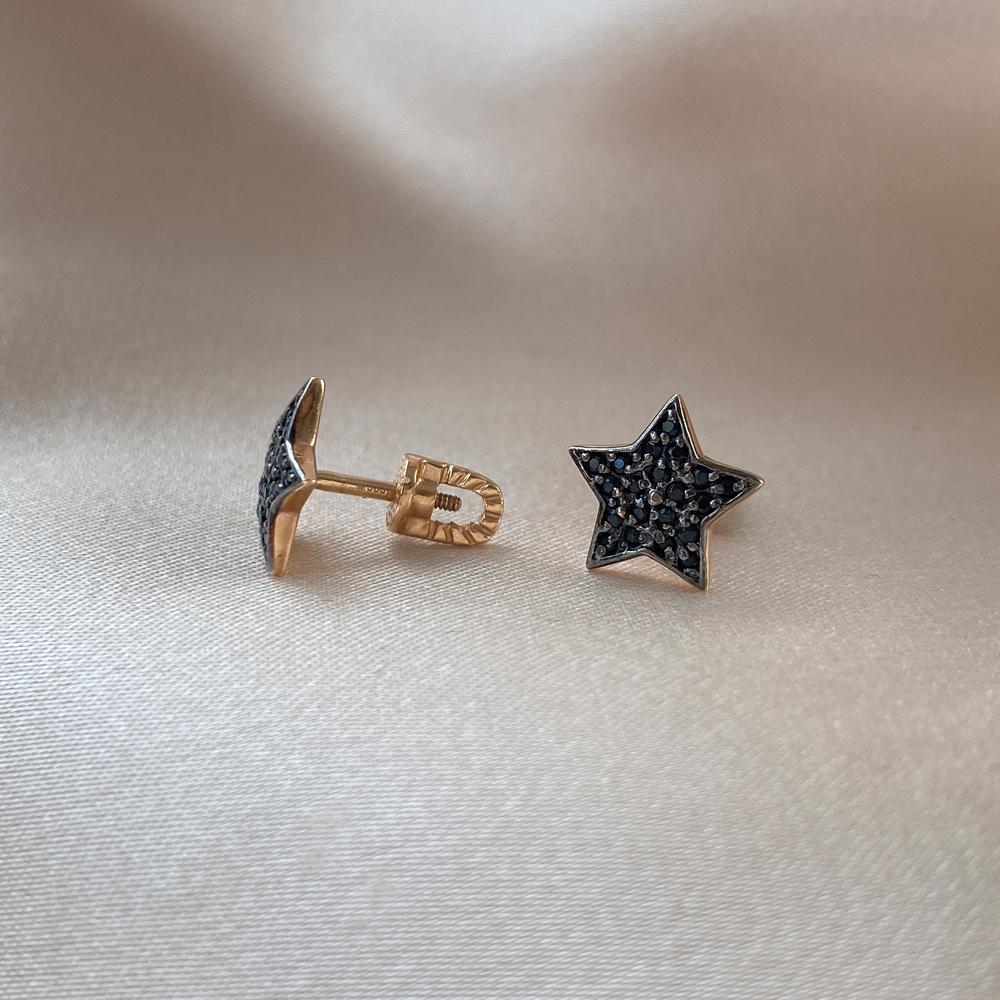 Золотые серьги-пуссеты в комбинированном цвете с черными крапанами и фианитами 000095134 000095134 от Zlato - 5