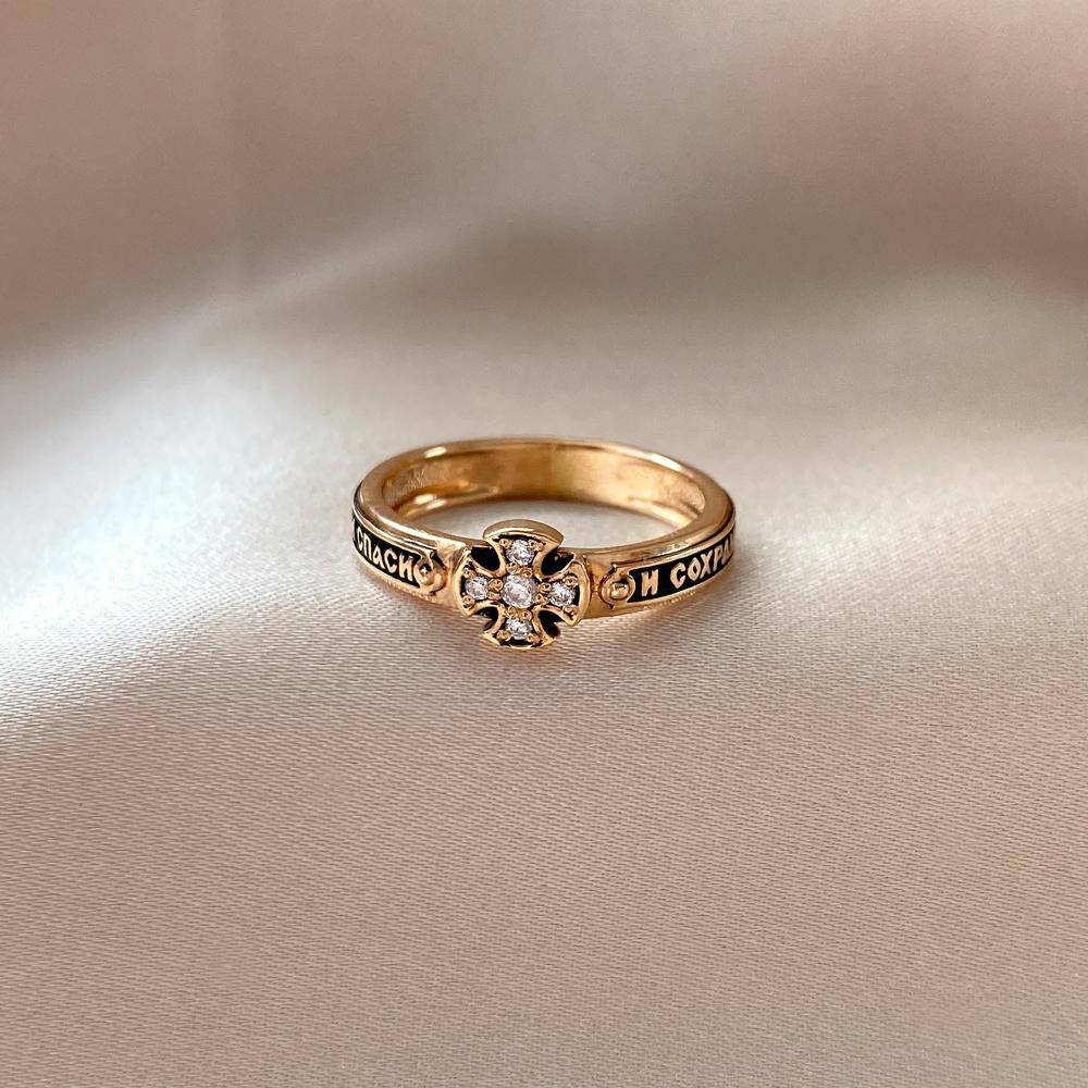 Обручальное кольцо из красного золота Спаси и Сохрани с чернением и фианитами 000104428 000104428 16 размера от Zlato - 2