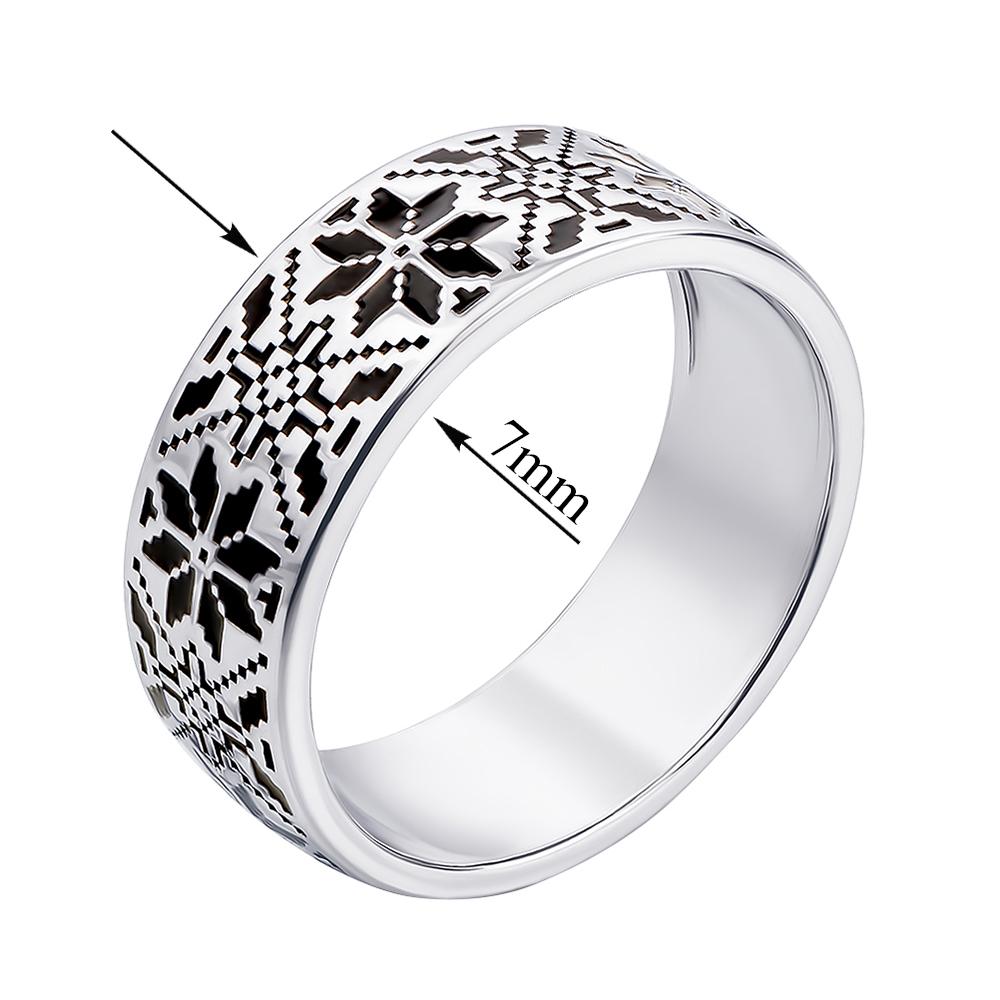 Серебряное кольцо Роксолана с орнаментом в стиле вышивки и черной эмалью 000119296 18 размера от Zlato - 2