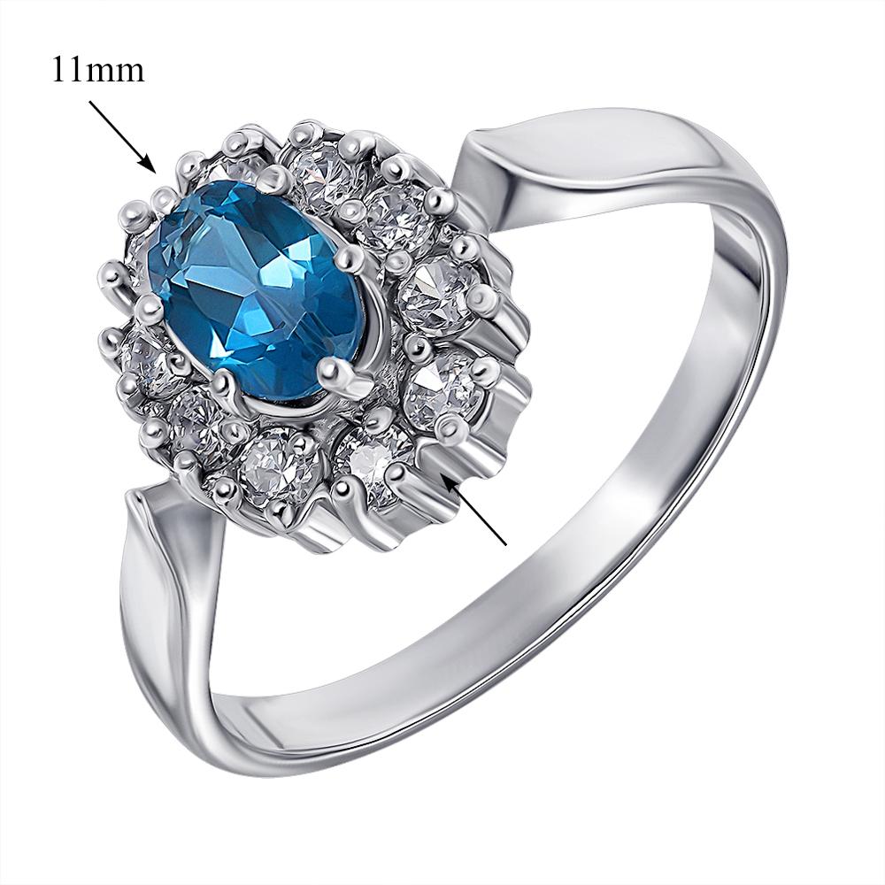 Серебряное кольцо с лондон топазом и цирконием 000136930 000136930 17.5 размера от Zlato - 2