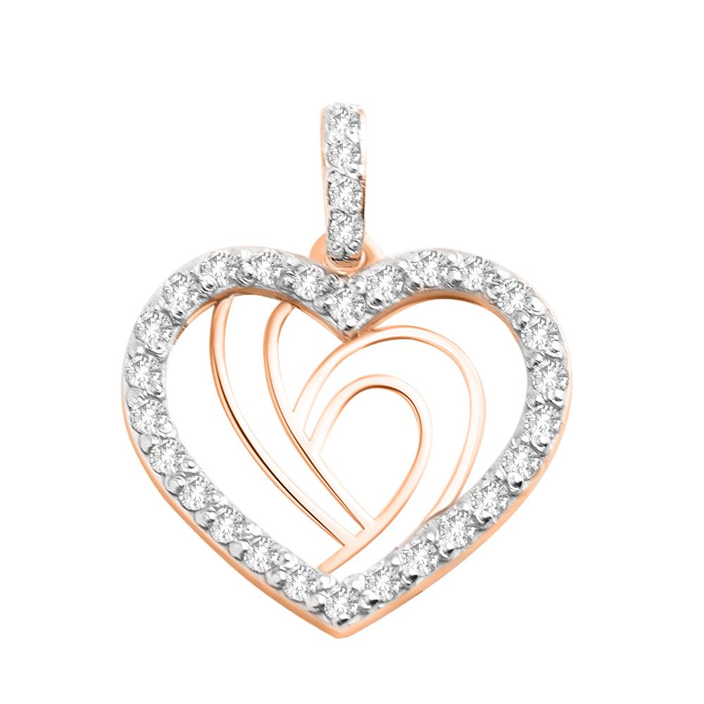 Золотой кулон-сердце  с фианитами 000103905 000103905 от Zlato