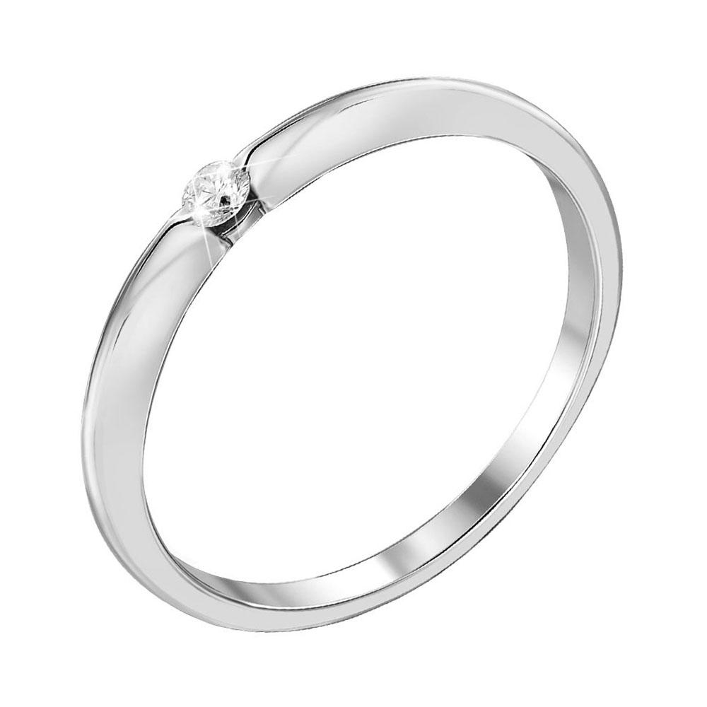 Кольцо в белом золоте с бриллиантом 000104552 000104552 18 размера от Zlato
