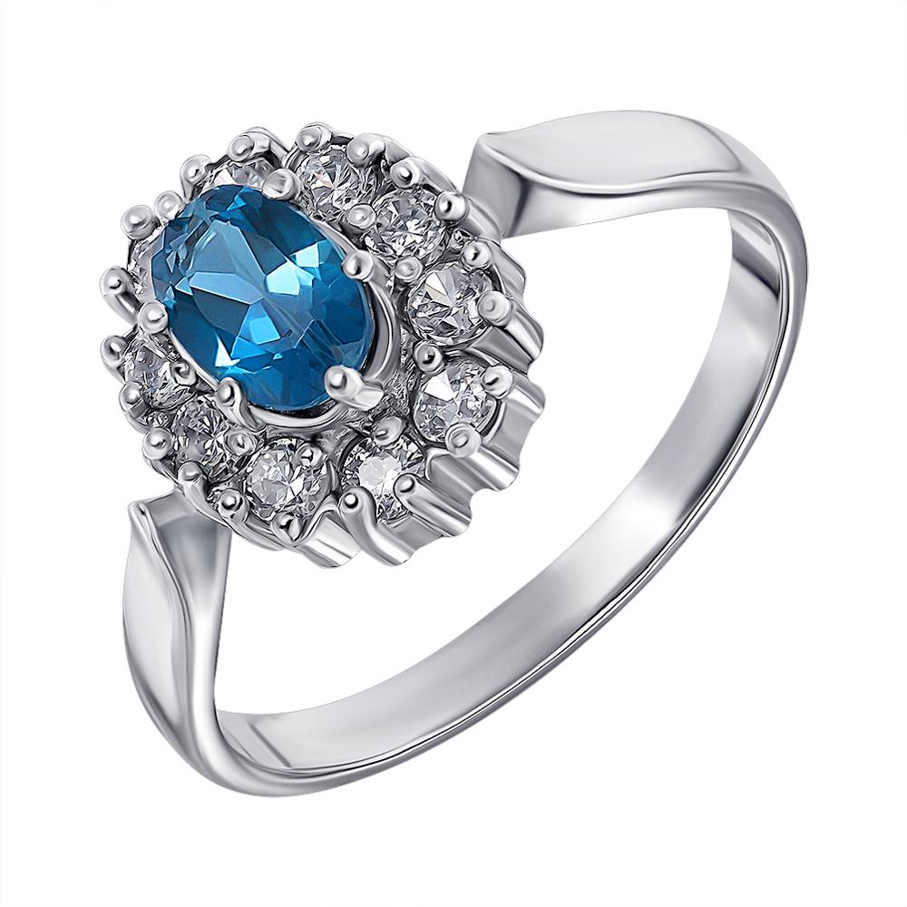 Серебряное кольцо с лондон топазом и цирконием 000136930 000136930 17.5 размера от Zlato