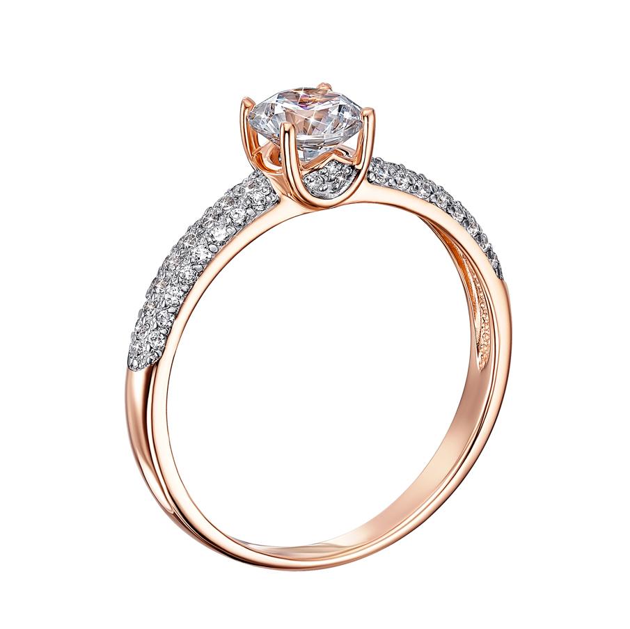 Золотое кольцо в комбинированном цвете с кристаллами Swarovski 000136641 000136641 16 размера от Zlato - 2