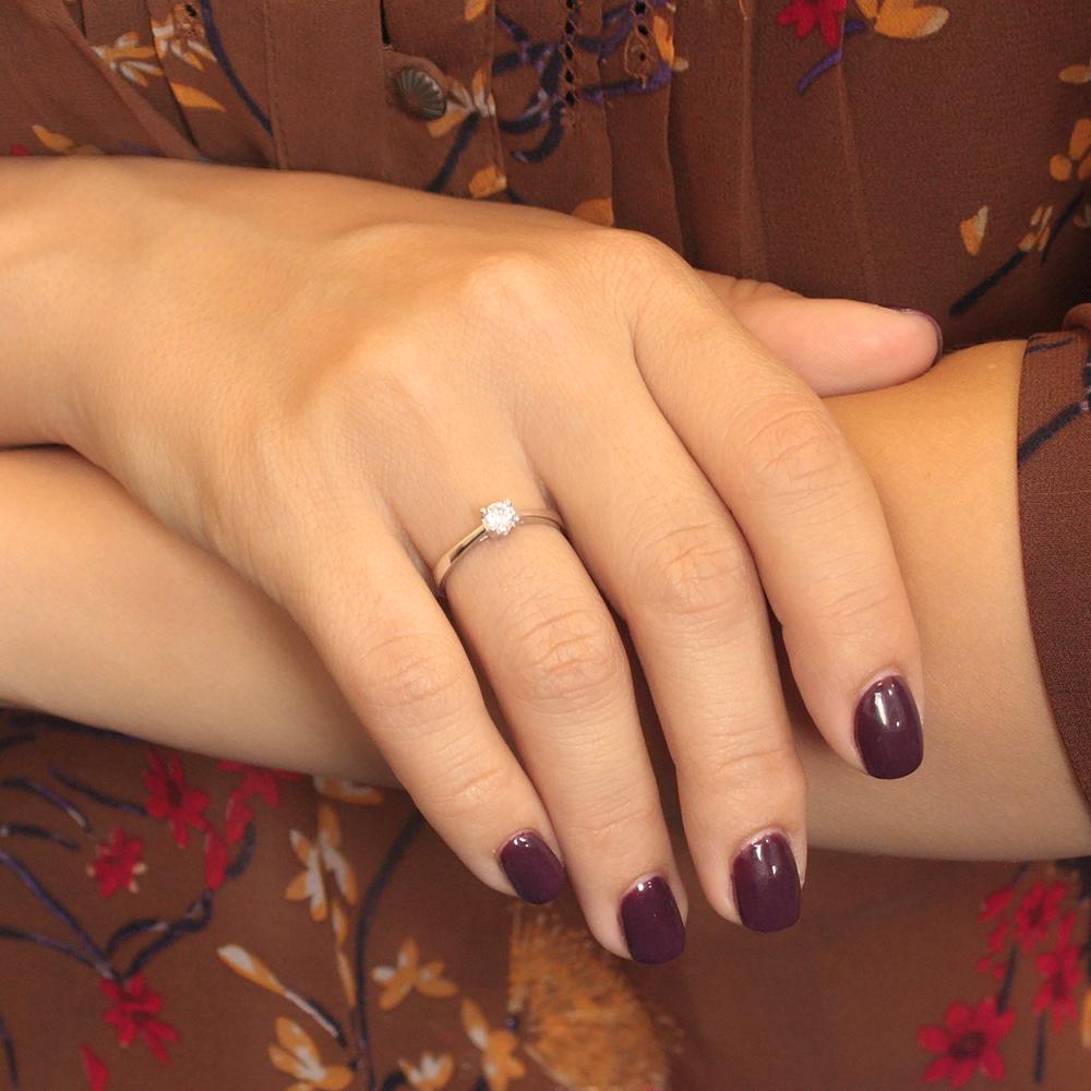 Золотое кольцо в белом цвете с цирконием 000080020 000080020 17.5 размера от Zlato - 2