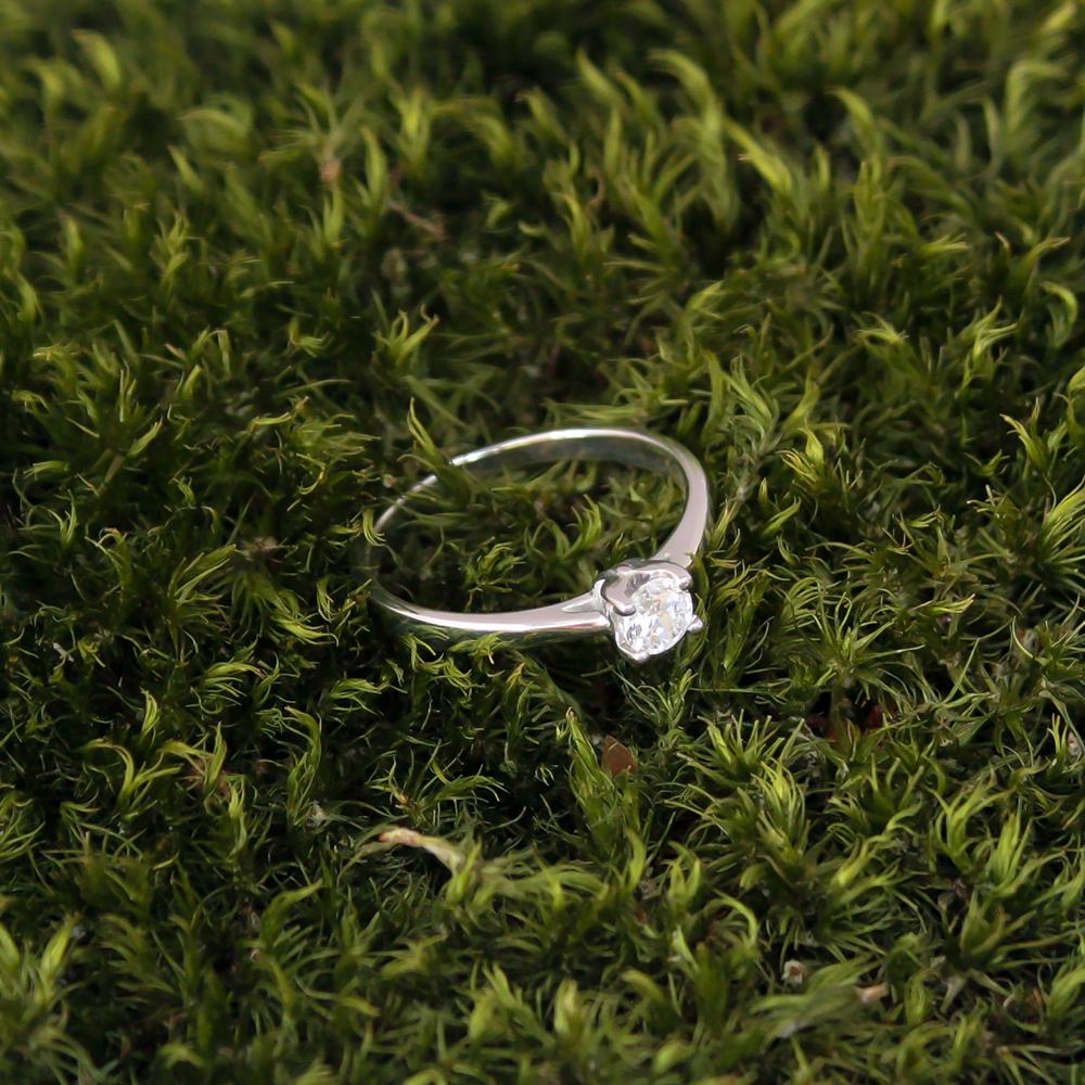 Золотое кольцо в белом цвете с цирконием 000080020 000080020 17.5 размера от Zlato - 3