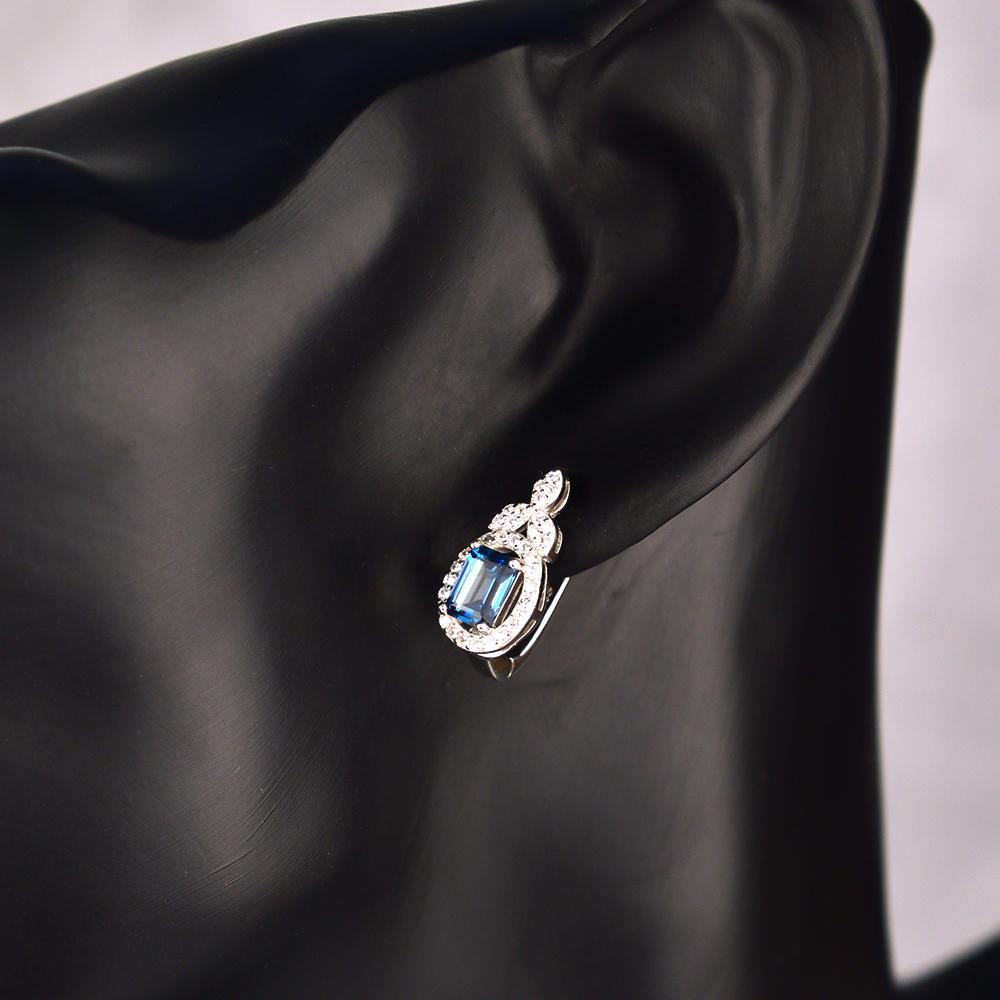Серебряные серьги с голубым топазом и фианитами 000117835 000117835 от Zlato - 2