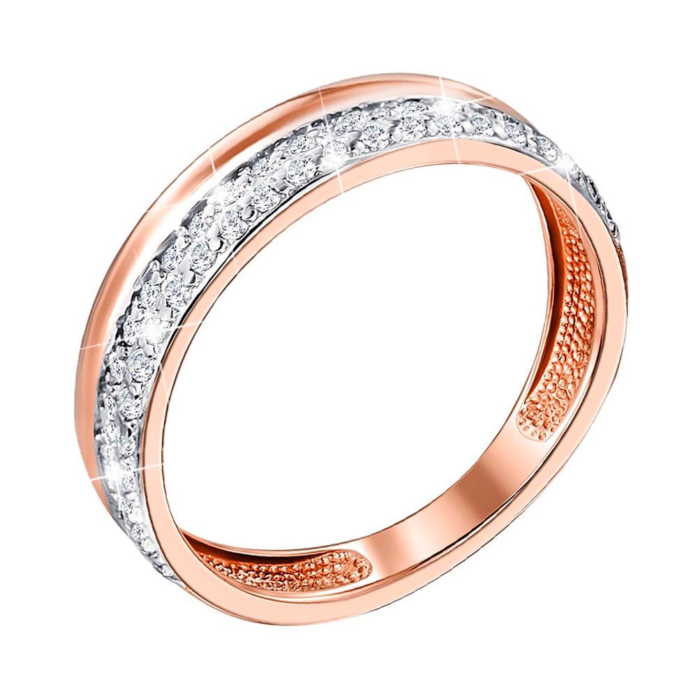 Золотое кольцо Вирида с кристаллами циркония 000104491 19 размера от Zlato