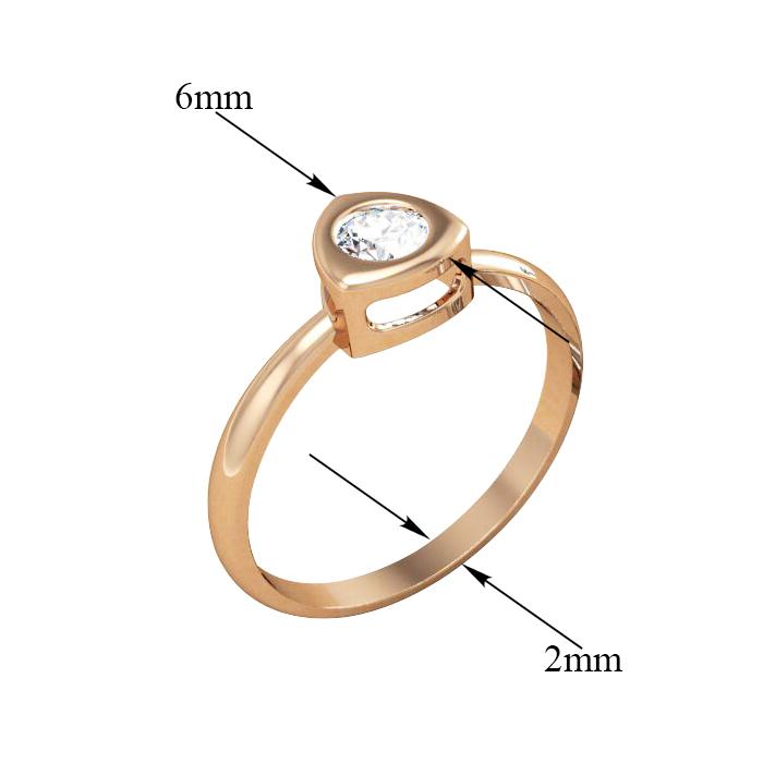 Золотое кольцо Полина в красном цвете с кристаллом циркония 000080782 17 размера от Zlato - 4