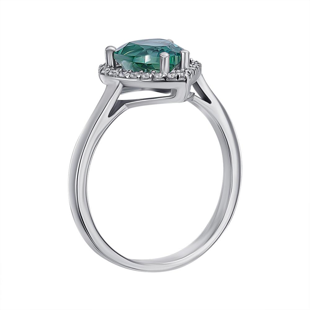 Серебряное кольцо с зеленым кварцем и фианитами 000136383 000136383 17 размера от Zlato - 2