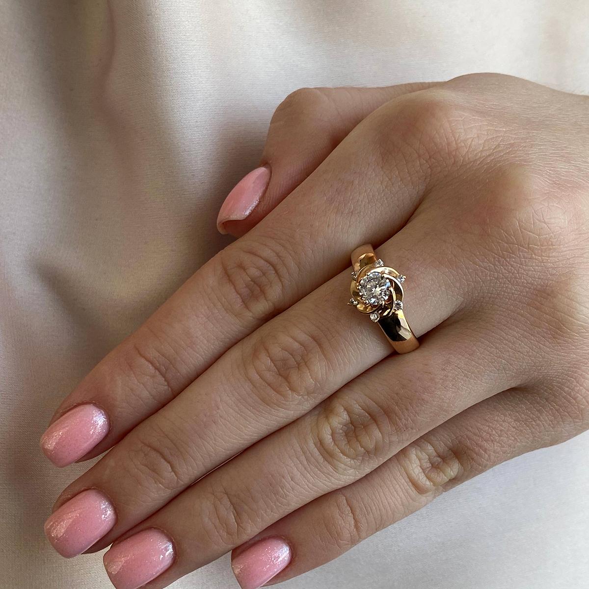 Кольцо из красного золота Вилена с фианитами 000103730 15.5 размера от Zlato - 3