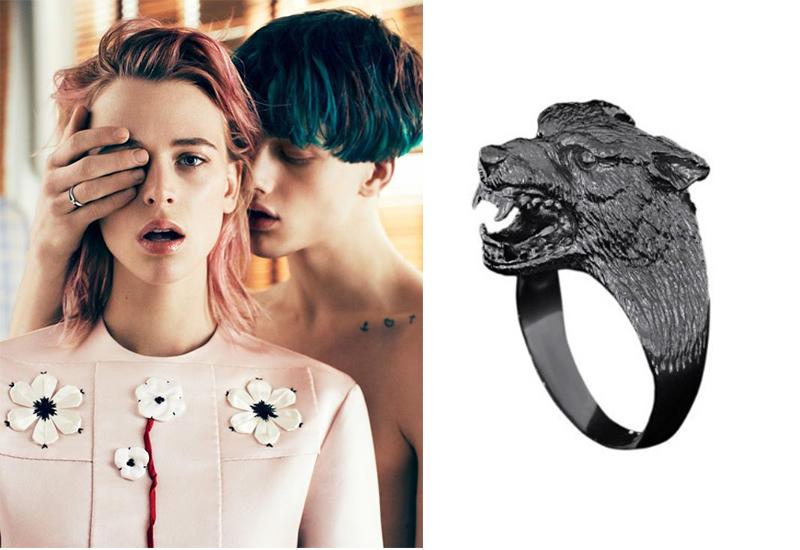 кольцо в виде волка