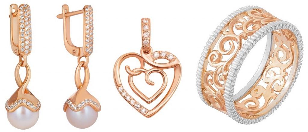 Серьги, кулон, и кольцо из золота