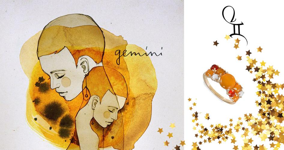 Золотое кольцо с желтыми камнями