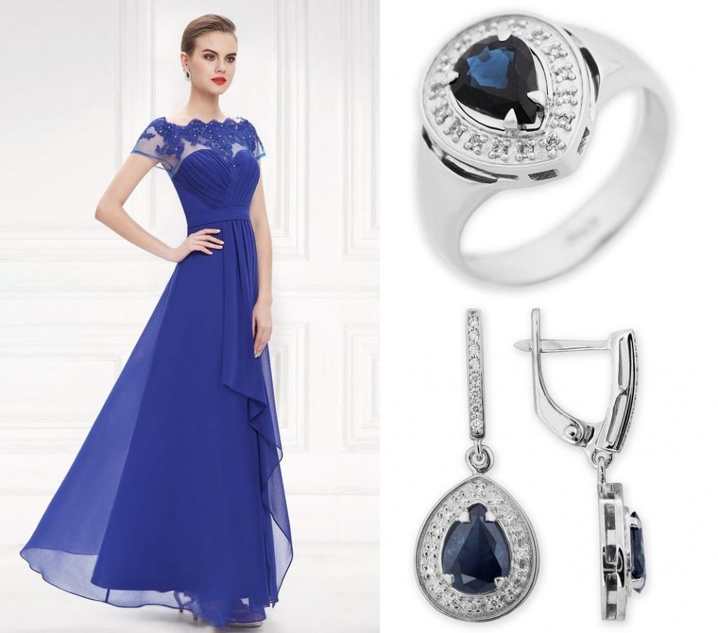 Кольцо и серьги с синими вставками