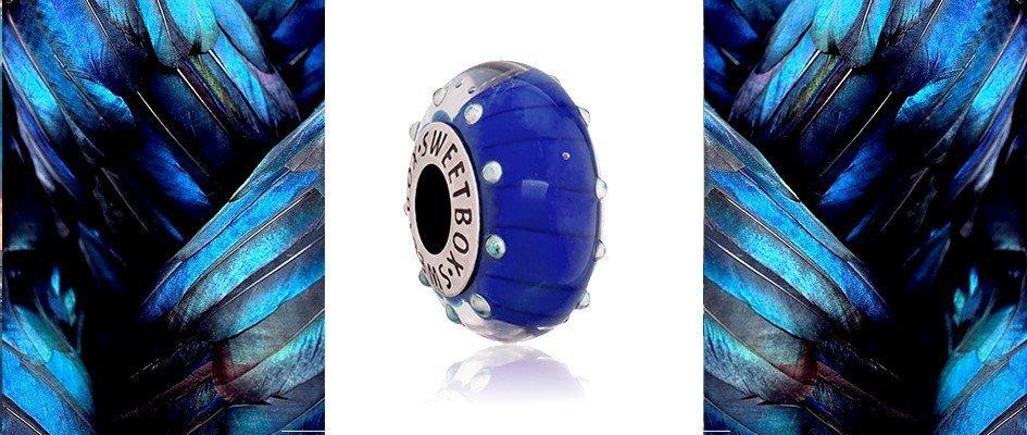 Шарм для браслета с муранского стекла голубого цвета