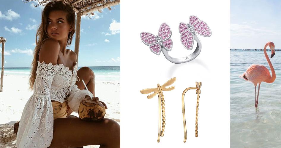 фламинго, два украшения и четкая девушка