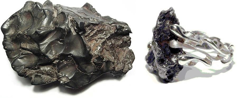 Кольцо с вставкой из метиорита