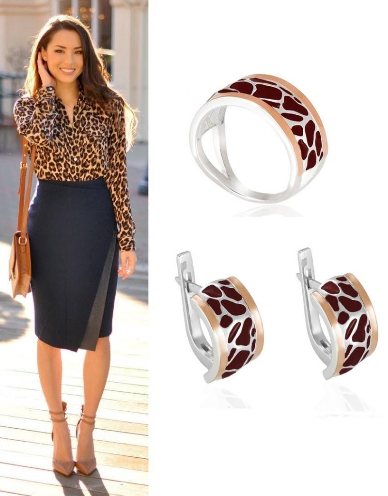 Кольцо и сережки в леопардовых тонах