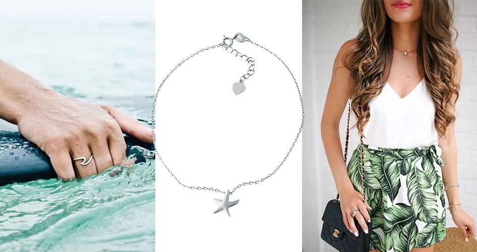 рука девушки с кольцом в море, цепочка серебряная с кулоном морская звезда, девушка с сумкой в платье белом и футпринтом из листьев